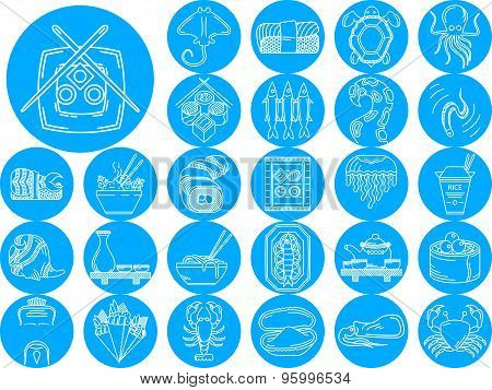 Seafood blue icons vector collection