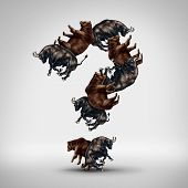 Bulls and bears questions with a stock market bull and bear shaped as a question mark as a financial investing concept of greed versus fear and a trading symbol for investor mood and forecasting or wall street investor uncertainty in the markets. poster