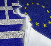 Greece Europe failure concept as a dividing crack on a broken road with the European union and Greek flag as a failure or potential grexit deal because of the debt crisis and austerity management of the Athens economy. poster