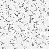 Black and White Prescription symbol made from Marijuana Leaves Pattern Repeat Background that is seamless and repeats poster
