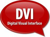 Speech bubble illustration of information technology acronym abbreviation term definition DVI Digital Visual Interface poster