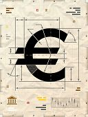 Drafting of money symbol on crumpled kraft paper. Qualitative vector illustration for banking financial industry economy accounting etc. It has transparency blending modes gradients poster