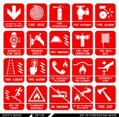 Set of safety signs. Firefighting icons. Set of firefighting signs. Collection of warning signs. Vector illustration. Signs of danger. Signs of alerts. Fire icons. poster