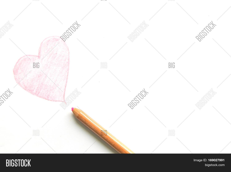 Line Drawing Heart Shape : Drawing heart shape pencil isolated image photo bigstock