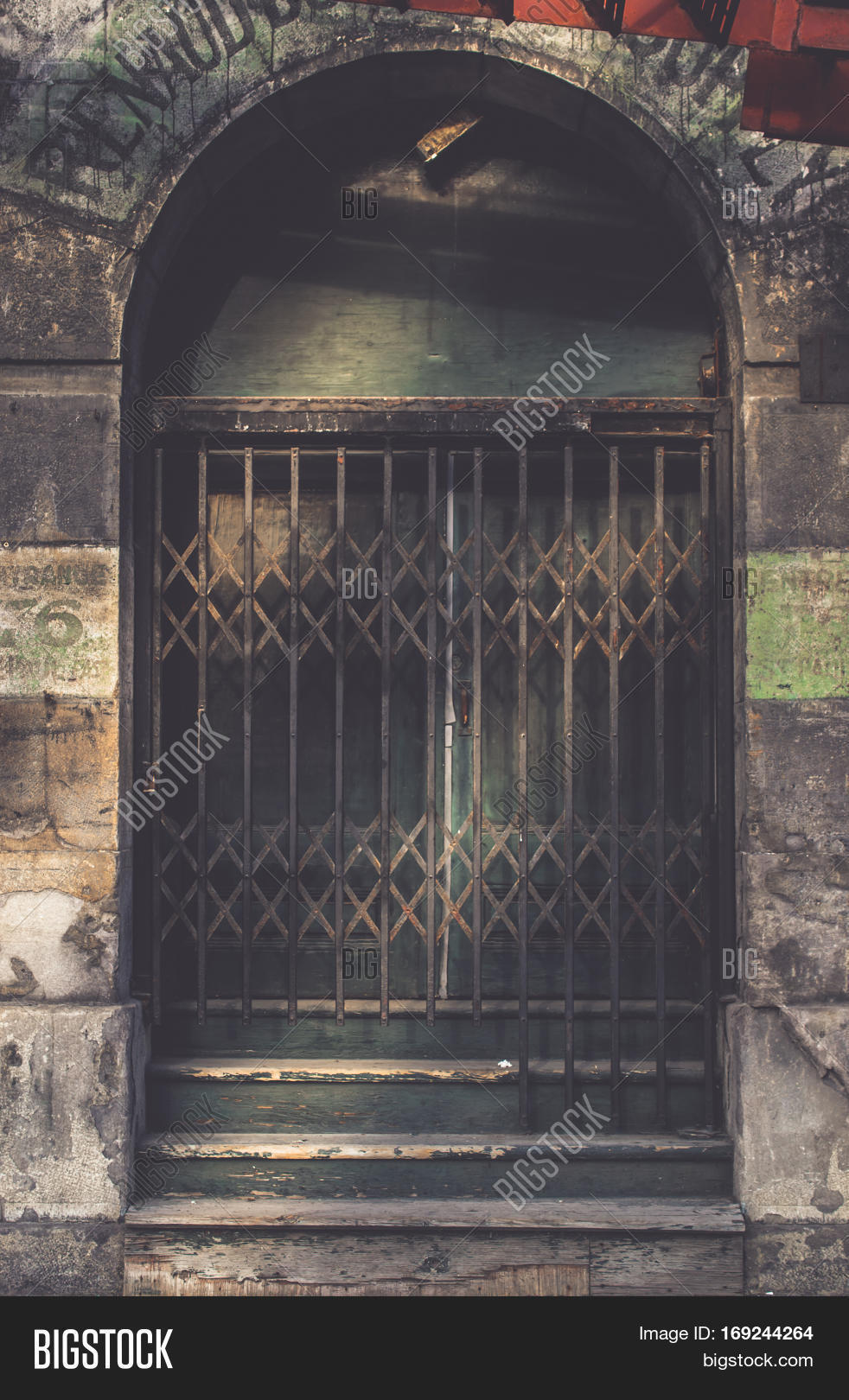 vintage sliding barred door in the dark tone for interior or exterior brick wall building decoration & Vintage Sliding Barred Image \u0026 Photo (Free Trial) | Bigstock