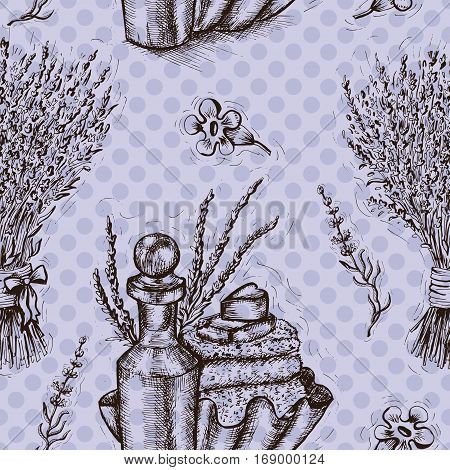 Seamless background with lavender flowers and perfume bottles. Repeated pattern. Hand drawn engraved illustration. Concept of beauty product packaging. Vector design elements