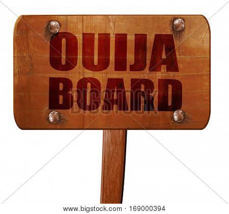 ouija board, 3D rendering, text on wooden sign