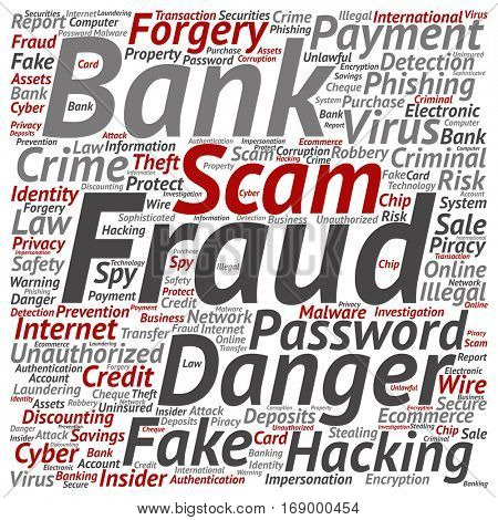 Concept or conceptual bank fraud payment scam danger square word cloud isolated on background metaphor to password hacking, virus, fake authentication crime, illegal transaction identity theft