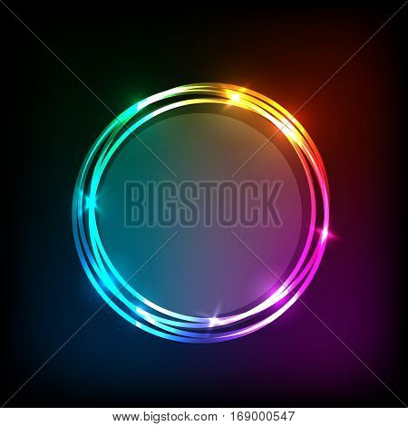 Circles banner on colorful abstract background, stock vector
