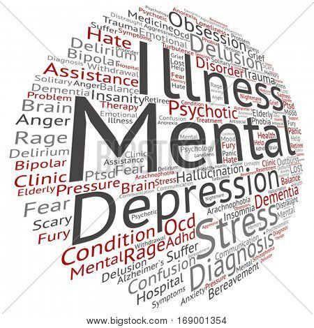 Vector concept conceptual mental illness disorder management or therapy abstract word cloud isolated on background metaphor to health, trauma, psychology, help, problem, treatment or rehabilitation