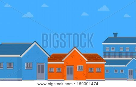 Vector flat of house on city collection stock