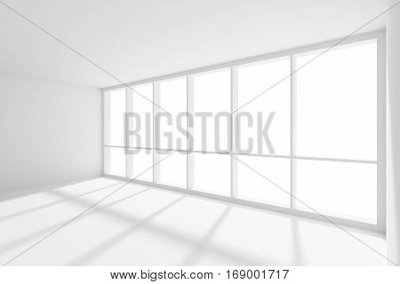 Business architecture white colorless office room interior - empty white business office room with white floor ceiling and walls and sunlight from large window 3d illustration