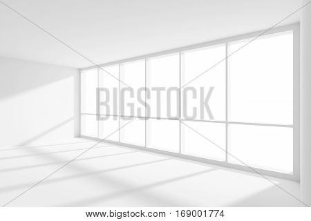 Business architecture white colorless office room interior - empty white business office room with white floor ceiling and walls and sun light from large window 3d illustration.