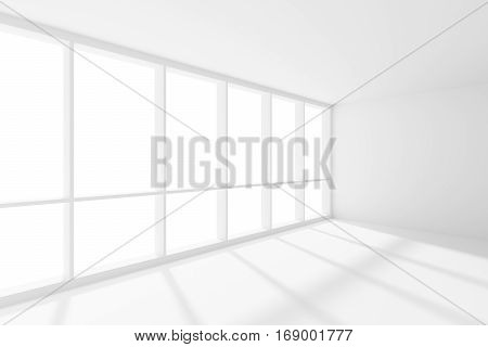 Business architecture white colorless office room interior - empty white business office room with white floor ceiling and walls and sun-light from large window 3d illustration