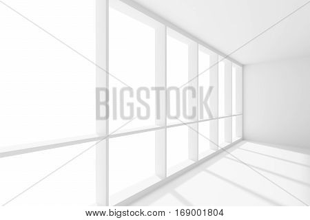 Business architecture white colorless office room interior - wide large window in empty white business office room with white floor ceiling and walls and sunlight 3d illustration