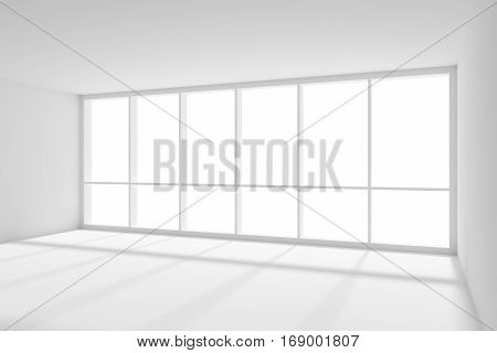Business architecture white colorless office room interior - big window empty white business office room with white floor ceiling and walls and sunlight 3d illustration