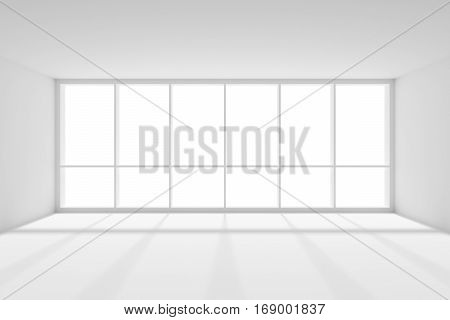 Business architecture white colorless office room interior - large window in empty white business office room with white floor ceiling and walls and sunlight from window 3d illustration