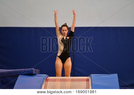 Orenburg, Russia - January 27, 2017: Girls Compete In Jumping On The Double Mnni-trampoline