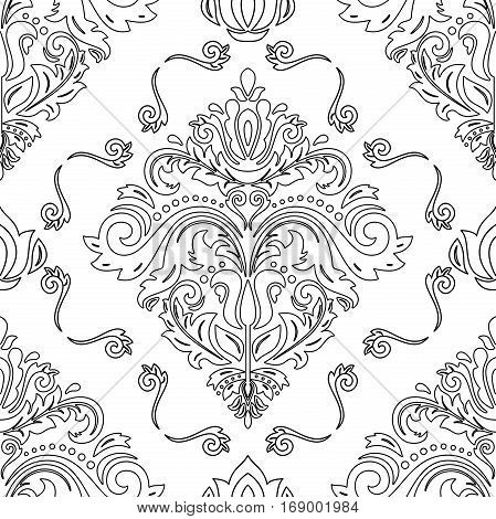 Seamless classic vector pattern with black outlines. Traditional orient ornament. Classic vintage background