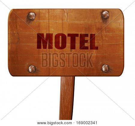 Vacancy sign for motel, 3D rendering, text on wooden sign