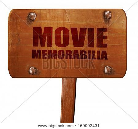 movie memorabilia, 3D rendering, text on wooden sign