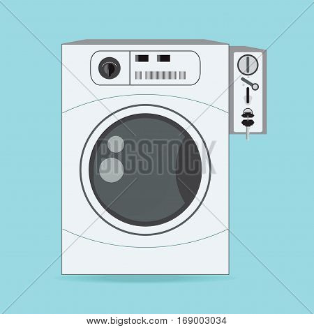 Coin washing machines with integrated payment system comfortably to do housework flat design vector illustration.