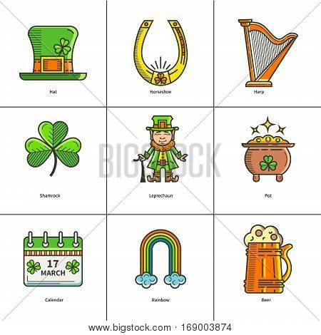 St. Patrick s Day set in a linear style icons. Leprechaun, pot, shamrock. It can be used for design of cards, invitations, web sites or printed materials.