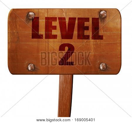 level 2, 3D rendering, text on wooden sign