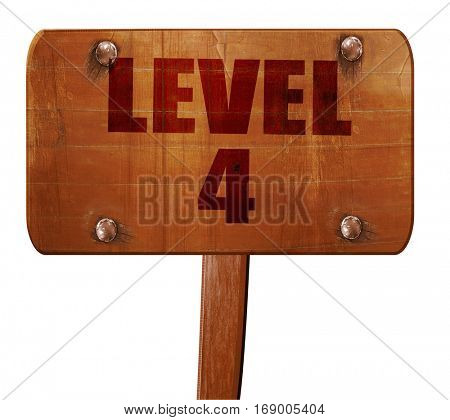level 4, 3D rendering, text on wooden sign