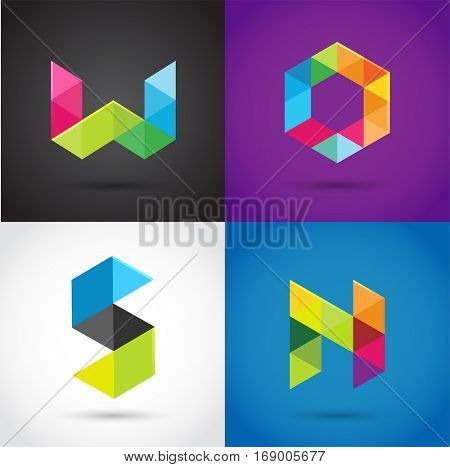 Creative, digital letter colorful icons, element and symbol, logo template. W, S, O, N,