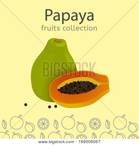 Ripe papaya on a light background. Fruits collection. Vector illustration.