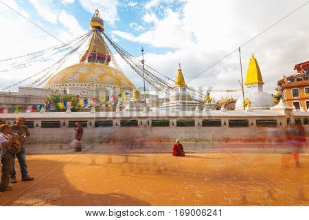 Boudhanath Stupa Long Exposure Still Beggar
