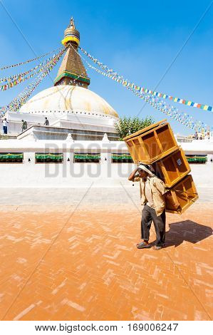 Boudhanath Stupa Nepali Porter Carrying Boxes