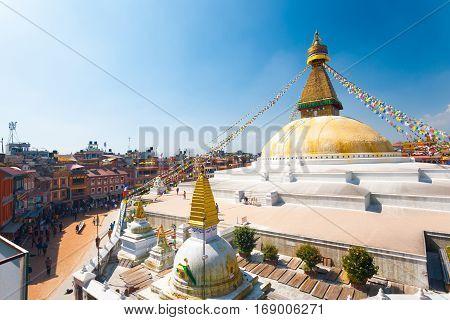 Boudhanath Stupa People High Angle View H