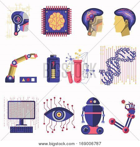 Artificial intelligence vector illustration of robot human mind, future computer digital brain science and innovation technology machines. Symbols of dna, microchip processor in eye, cyborg hand and head