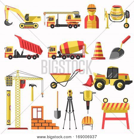 Building or construction vector icons of builder worker, crane, concrete mixer machine and tractor bulldozer. House brickwork and work tools of jackhammer, spade or trowel and measure level equipment