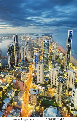 Melbourne, Australia - September 21, 2016: Aerial view of skyline with light trail at Gold Coast, Australia at sunset