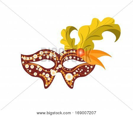 Carnival mask for Venetian masquerade or Mardi Gras festival or party. Vector illustration of isolated masque icon with hand made feather decorations, ornate laces and bead sequins