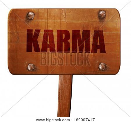 karma, 3D rendering, text on wooden sign