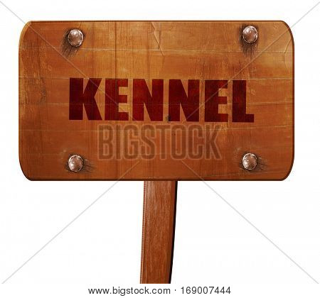 kennel, 3D rendering, text on wooden sign