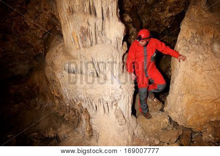 Caving in Cat Cave, Zaragoza Province, Aragon, Spain.