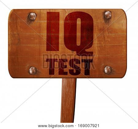 iq test, 3D rendering, text on wooden sign