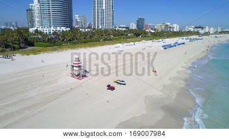Lifeguard Tower Miami Beach FL USA shot with drone