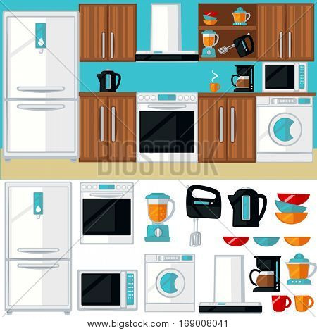 Kitchen room interior with furniture, appliances, electronics and cooking tools. Colorful isolated icons set. Flat design illustration