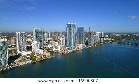 Aerial drone photo of edgewater Miami Florida USA