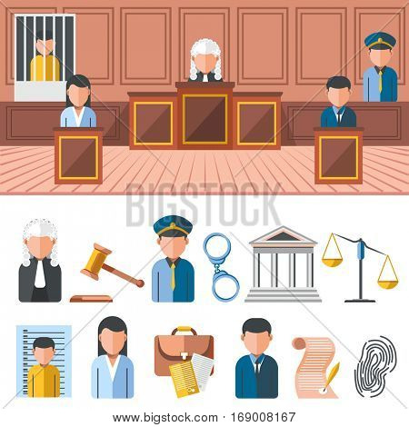 Law system banner and icon set: gavel, court and judge, jury, lawyer, jail and prison, judgment, courtroom. Justice and crime, law symbols. Flat design elements. Isolated vector illustration