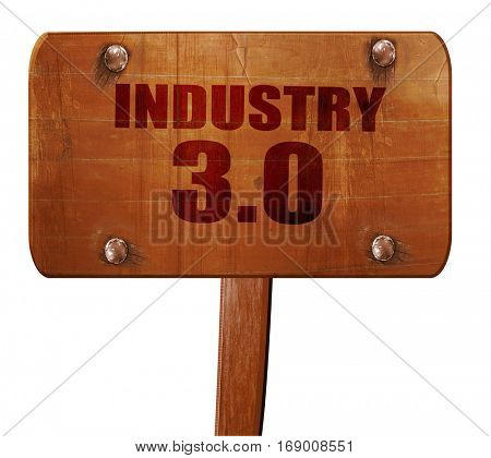 industry 3.0, 3D rendering, text on wooden sign