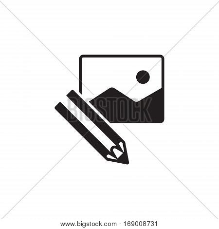 Vector icon or illustration showing web site content with pencil and picture in one balck color