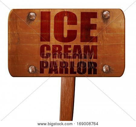 ice cream parlor, 3D rendering, text on wooden sign