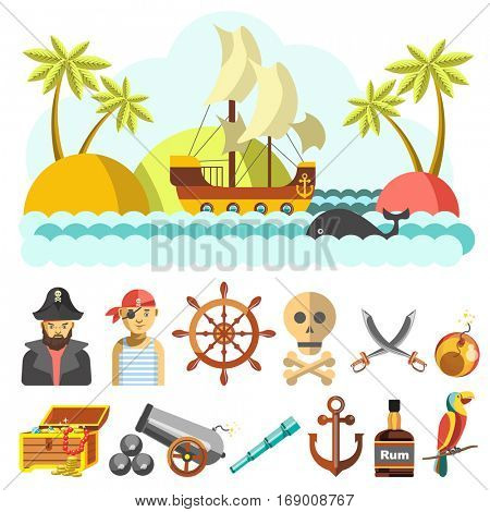 Set of piratical icons and landscape with treasure island. Pirate and parrot, steering wheel and swords, skull and crossbones, bomb and cannon, spyglass, anchor and rum. Flat vector illustrations
